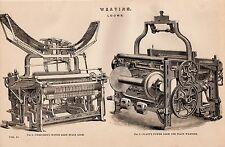 1868 PRINT ~ WEAVING ~ LOOMS ~ DICKINSON'S 37 INCH REED SPACE ~ PLATT'S POWER