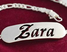 "Pulsera Con Nombre ""Zara"" - 18 K oro plateado | Plateado | Moda Regalo"