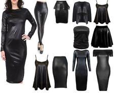 Damen Wetlook Langärmlig PVC Leder Kleid Enganliegende Tunika Top Größe 8-26