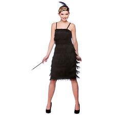1920s Black Jazzy Charleston Fringe Flapper Womens Sexy Fancy Dress Costume 2150