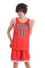Slam Dunk Shohoku Cosplay Costume High Sakuragi Hanamichi Red 10 Jersey V1 Set
