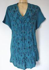 M&S Per Una Premium Dark Teal Hand Embellished Short Sleeve Blouse RRP: £45