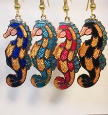 SEA HORSE Earrings, Dangle (drop),Stefano Vintage Cloisonne,4 colors,Gold Plate