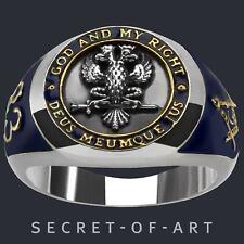 Freimaurer Ring Masonic Silber 925 Deus Scottish rite 33rd Gelbgold-Plattiert