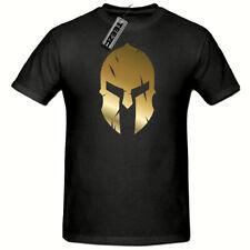 Spartan Mens T shirt,(Gold Slogan tshirt) Spartan Gym MMA t shirt,Fitness