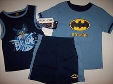Batman Outfit DC 3 Pc Set Shorts Shirts Toddler Boys Sz 2T Blue  NWT