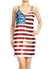 Womens Spaghetti Strap Sleeveless USA American Flag Patriotic Sequin Party Dress