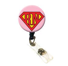 Pink Nurse Super RN ID Badge Retractable Badge Reels/ ID Badge Holder