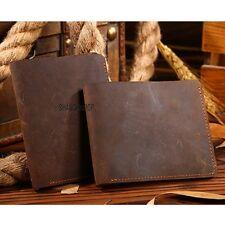 1 X Men Genuine Crazy Horse Leather Bifold Wallet Vintage Coin Purse Card Holder