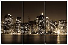 Quadro moderno arredo casa salotto soggiorno design NEW YORK BROWN 3pz 60x90