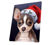 Christmas Chihuahua Dog Holiday Santa Hat Woven Throw Sherpa Blanket T433