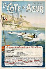 PLAQUE ALU DECO AFFICHE COTE AZUR GRANDES CAPITALES PARIS ANGLETERRE CANOE