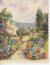 VINTAGE FLOWERS GARDEN GATE TRELLIS ARBOR HOUSE LISTED ARTIST OLD ART CARD PRINT