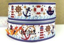 Nautical Boat,Anchor Water Grossgrain Ribbon 22mm - 1M,2M,3M,4M or 5M - U Choose
