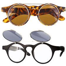 Cool Flip Up Lens Steampunk Vintage Retro Style Round Sunglasses Tortoise Gold