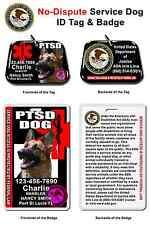 Service Dog ID Tag and Badge PTSD custom photo id card pet tag customized BLACK