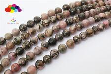 Diy 4/6/8/10/12mm Natural Stone Rhodochrosite black Round beads fit bracelet