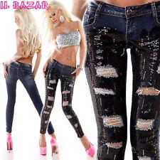 Sequin Paietten Jeans BLUES, PAILLETTES NERE &STRAPPI TG 38,40,42,44,46