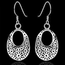 Ohrringe Blüte Blatt Tropfen  - Silber plattiert Geschenk Ohrringe