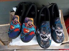 DC Comics Superman or Batman Canvass Slip-ons (men's sizes listed) NEW!