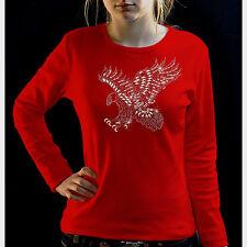 Estrás Águila Remaches Rhinestud Águila Mujer Camiseta para chica 7203 LS ROJO