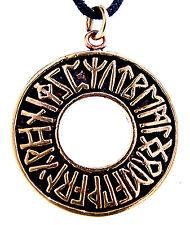 RUNAS FUTHARK Bronce Anillo de Alfabeto ABC Colgante Cinta / Collar nr.54
