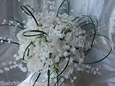Wedding Flowers Handtied Bouquet Rose, Gyp, Bear Grass & Diamante Bridesmaids