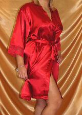Sexy kurzer Satin Kimono / Morgenmantel Gr. 38 40 42 44 Dessous Rot Flieder