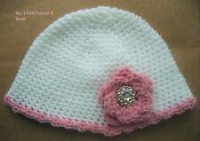 CROCHET-BEANIE-Baby/Small Child -Size xxSml 49cm White Crochet w Pink Yarn Daisy