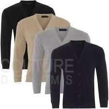 Mens Plain Cardigan Scollo V Con Bottoni Maglione Cotone Rich pullover golf maglia