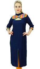 kurta fente rayonne de marine ethnique bleu Kurti élégante tunique décontractée
