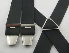 Hosenträger schwarz  X - Form 4 Clips 120 -140 cm neu eigene Herstellung