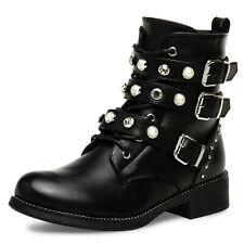 Caspar SBO88 Damen Vintage Stiefeletten Stiefel Strass Perlen schwarz mit Absatz