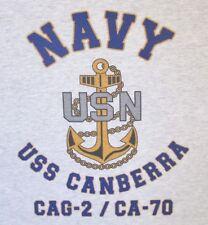 USS CANBERRA  CAG-2/CA-70*  CRUISER * U.S NAVY W/ ANCHOR* SHIRT