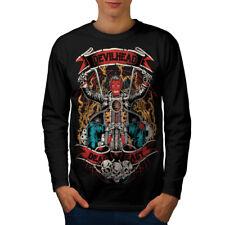Devil Head Satan Biker Hommes T-shirt à manches longues Nouveau | wellcoda