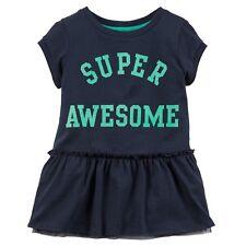 "Carter's Girl's Short Sleeve ""Super Awesome"" Peplum Tunic; Navy"