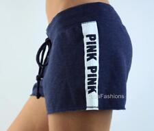 Victoria's Secret PINK Raw Edge Hem Sweat Shorts Logo Shortie Navy White