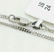 "14k Solid White Gold Gourmette Miami Cuban Necklace Pendant Chain 1.5mm 16-24"""
