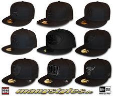 BLACK on BLACK 59FIFTY NEW ERA CAPs different Teams Atlanta LA NY GIANTS RAIDERS