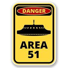 2 x Danger Area 51 Vinyl Sticker Laptop Travel Luggage Car #6422