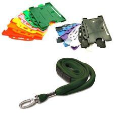Green Tubular Lanyard Neck Strap & Landscape Card Holder - PICK CARD COLOUR