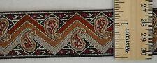 "Flat Trim/ Woven Ribbon- 1 5/16""w- Orange Zig Zag/Paisley w/ Red Flower on Brown"