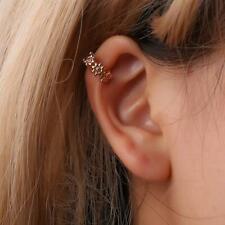 Gold Flower Helix Cartilage Ear Ring Fake Clip On Ear Cuff Wrap Upper Earring