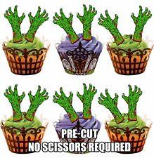 Pre-Cut Verde Zombie manos comestibles Cup Cake Toppers Decoraciones de fiesta de Halloween