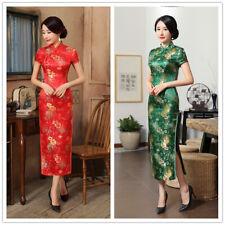 Sexy Womens lady Red Cheongsam QiPao Wedding Chinese Dress Evening Long prom