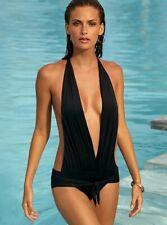 Costume Bagno Nero Intero Scollato Foderato Moda Mare Monokini NO Bikini S M L