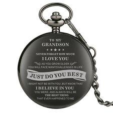 TO MY DAD/GRANDSON Men's Analog Quartz Pocket Watch Pendant Chain Best Gift