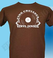 Funk Música CAMISETA Vinyl Junkie Soul Diseño Original 60' 70s Años 80 Disco
