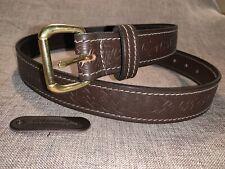 Brown Celtic Cream Stitch Gothic Belt HandMade Real Bridle Leather Belt xl