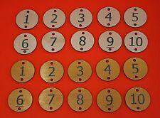 Engraved table number discs  locker door numbers house number discs